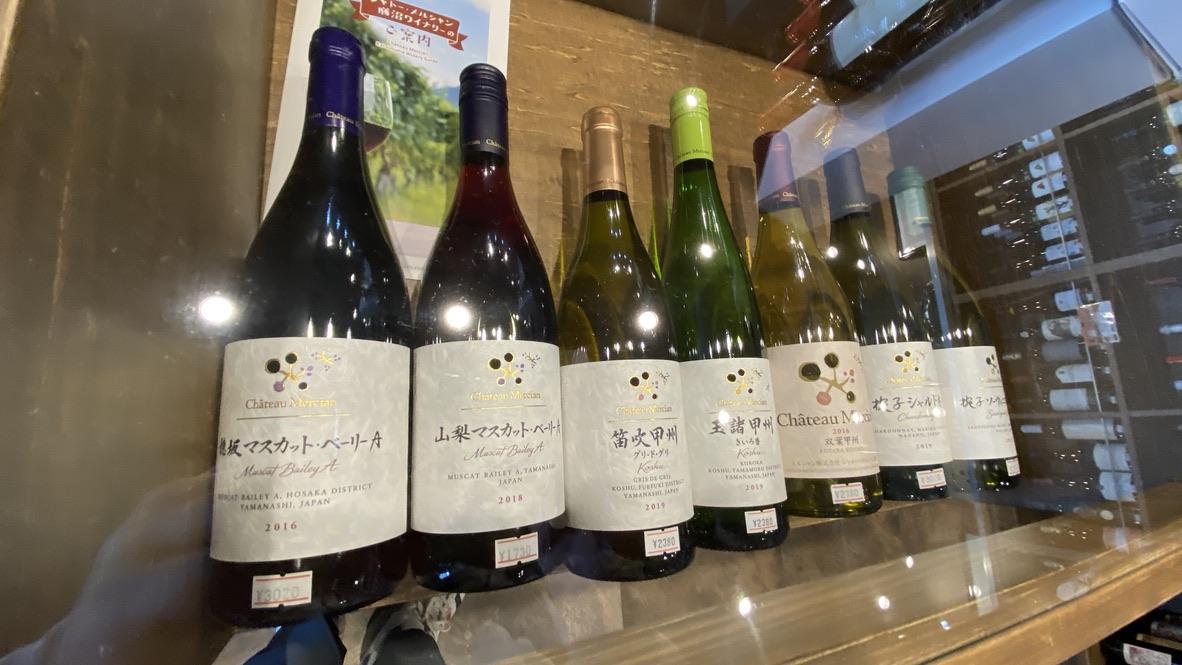 甲州ワインの三大ワイナリー「シャトー・メルシャン」のディスプレイ