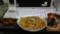 ヒレカツと野菜ジュースと納豆シーチキンめんつゆスパ
