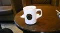 本日のコーヒー。いつもはブラックだけどミルク2つをIN