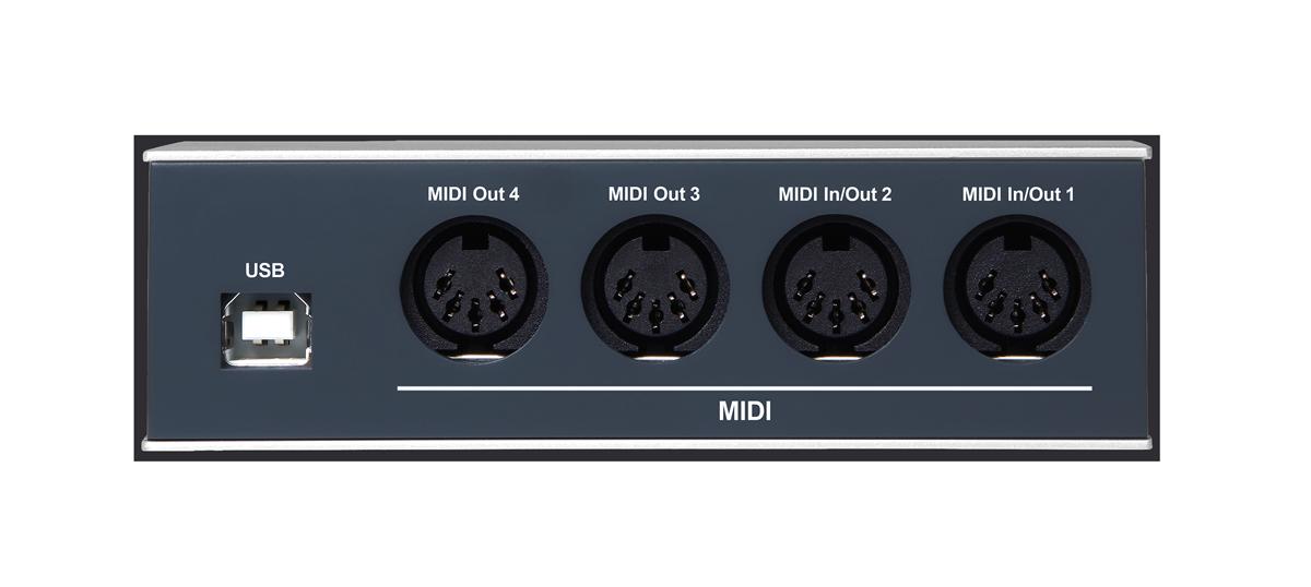 リア・パネル。MIDI IN/OUTが2系統とMIDI OUTを2系統の4系統を装備し、2イン/2アウト、1イン/3アウト、4アウトなど用途に合わせて設定ができる。左にはUSB Type-Bポートも用意しており、コンピューター接続のほかスタンドアローンで動作する際の給電に使用する