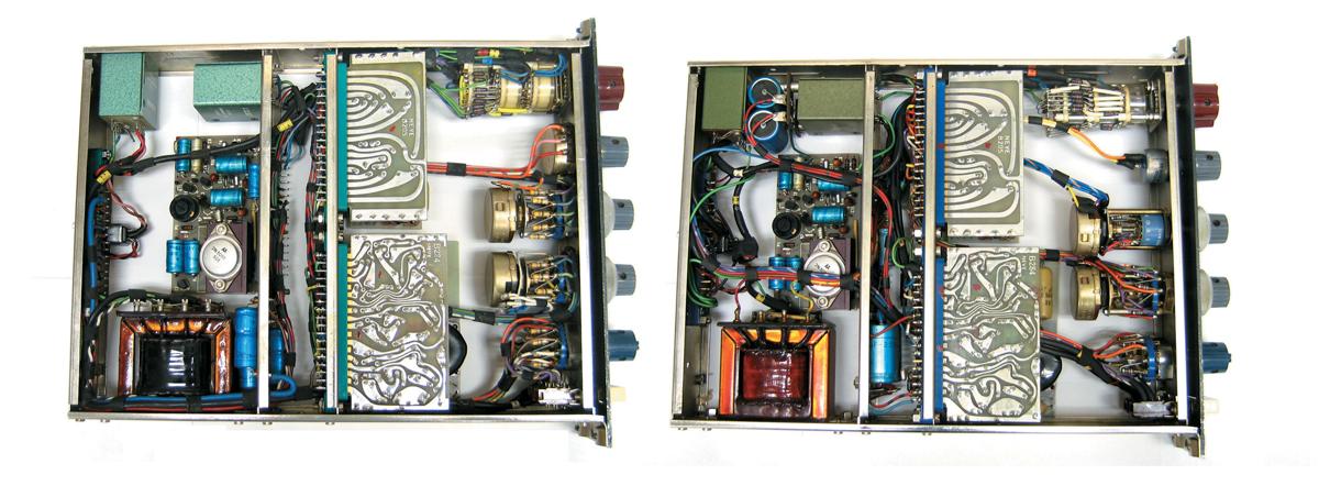 左が後期型の内部で、すべてオリジナル・パーツ。右は初期型の内部で、配線などレイアウトが初期と後期で若干違う。左上の小さな四角い箱×2個と左下の大きく黒いパーツが1073の音を特徴付けるトランス