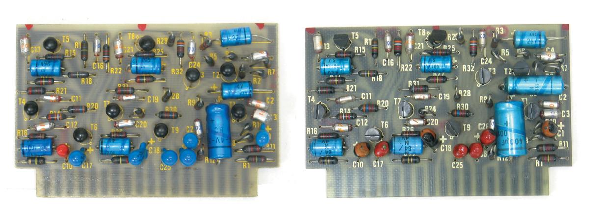 電解コンデンサーを多く備えるBA284ボード。左が後期、右が初期型。両者はコンデンサーの値が異なるところが多い