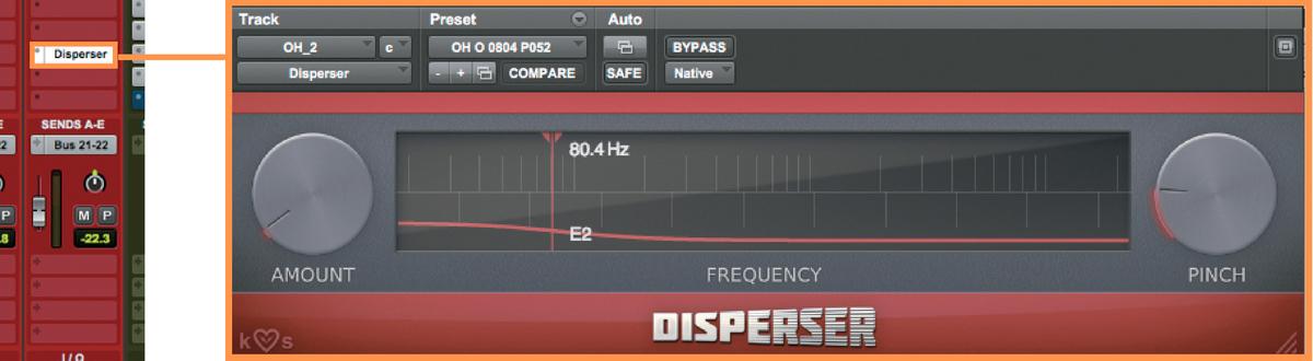 こちらの周波数は80.4Hz。芳垣と0.2Hz 違うところに益子が試行錯誤した跡がうかがえ るが、益子も注意するようにこれが最適解とは限らないので参考程度に