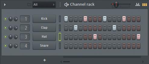サンプルやソフト音源をアサインして打ち込みが可能なChannel Rack。デフォルトでキック、クラップ、ハイハット、スネアがアサインされている。右上のMain swingスライダーで、リズムをスウィングさせることが可能。サンプルおよびソフト音源の追加は下部の+マークから行える