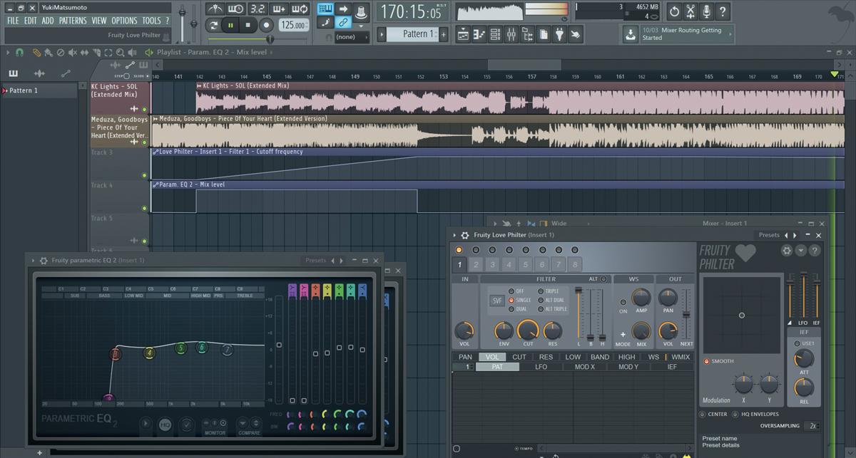 FL Studioならマッシュアップも簡単に作ることができる。この画面ではビルドアップに向かうにつれて別の曲がフィルター・インされて、最終的にドロップで違う曲が流れるようになっている。使用したフィルターはFruity Love Philter(画面右下)