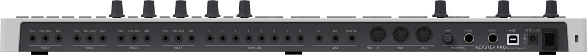 リア・パネル。2系統のCVアウト(ピッチ+モジュレーション/ベロシティ)と1系統のGateアウトの組み合わせを4ボイス分、8系統のドラム用Gateアウト、クロックイン/アウトとリセット・アウト(以上、すべてミニ・フォーン)、MIDI INと2系統のMIDI OUT、メトロノーム・レベル・ノブ、メトロノーム・アウト(フォーン)、サスティン・ペダル・イン(フォーン)、USB Type-B端子を備えている