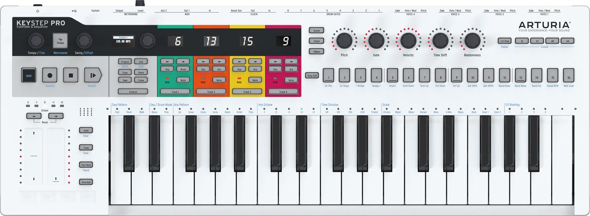 KeyStep Proは4基のポリフォニック・ステップ・シーケンサーを装備し、最大4台のハードウェアやコンピューター上のソフト音源などを同時にコントロールすることができる。付属のDCアダプターから電源供給を行い、スタンドアローンでの動作も可能