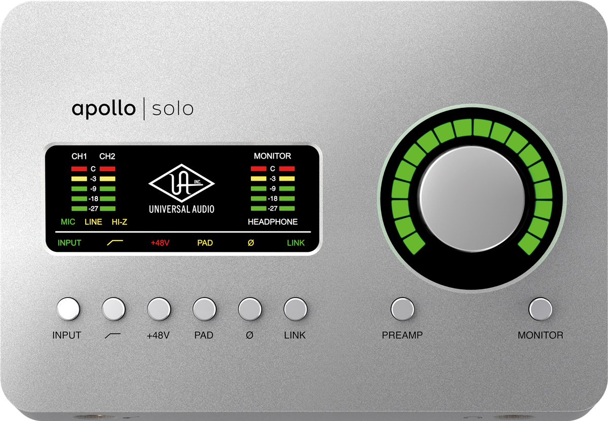 Apollo SoloとApollo Solo USBでトップ・パネルは共通。右側にはレベル・ノブを備え、下部にあるPREAMPスイッチを押すと入力ゲインを、MONITORスイッチを押すとメイン・アウト/ヘッドフォン・アウトの音量を調節できる。トップ・パネルの左側にはインジケーターを搭載。その下部にはINPUTボタン、ローカット・ボタン、48Vファンタム電源ボタンなどを装備している