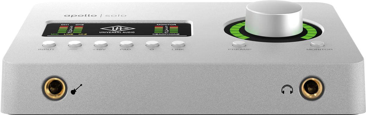 Apollo Solo/Apollo Solo USBのフロント・パネルには、左からHi-Z 入力(フォーン)とヘッドフォン・アウト(ステレオ・フォーン)を装備
