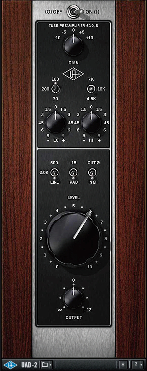 ビンテージEQやコンプ、ギター/ベース・アンプなどをエミュレートしたUAD-2プラグイン・バンドルRealtime Analog Classics Bundleに同 梱されるマイクプリ&EQプラグイン、UA 610-B Preamp & EQ。Apollo SoloとApollo Solo USBには、同バンドルが付属している