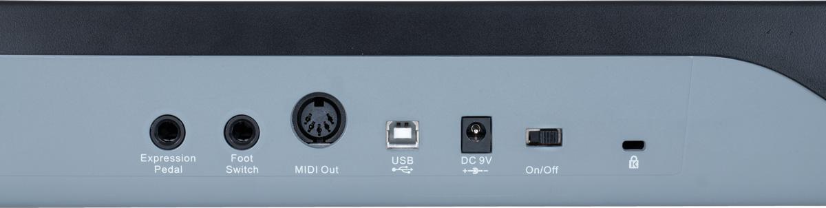 リア・パネルは、エクスプレッション・ペダル端子、フット・スイッチ端子(どちらもフォーン)、MIDI OUT、USB接続端子が並ぶ