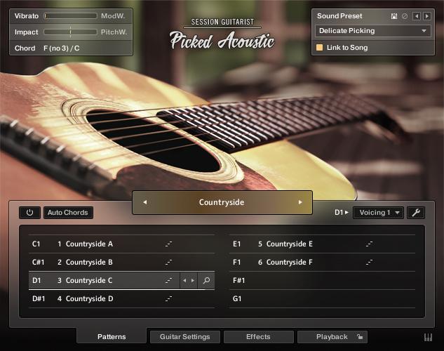 Komplete 13 UltimateとKomplete 13 Ultimate Collector's Editionに収録されているSession Guitarist - Picked Acoustic。Kontakt PlayerまたはKontaktで動作する。ピック奏法とストラム奏法による194 種類のパターンを搭載するインストゥルメントと、メロディ演奏に特化したインストゥルメントの2種類が用意されている