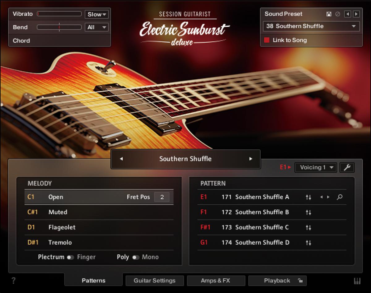 Session Guitarist - Electric Sunburs tDeluxe。Komplete 13 UltimateとKomplete 13Ultimate Collector's Editionに収録されている。ストラミングやアルペジオ、リフのパターンを含むライブラリーを用意し、リアルなエレキギターの演奏を再現。アンプとキャビネットのシミュレーターも内蔵し、この音源だけで幅広い音作りが可能だ