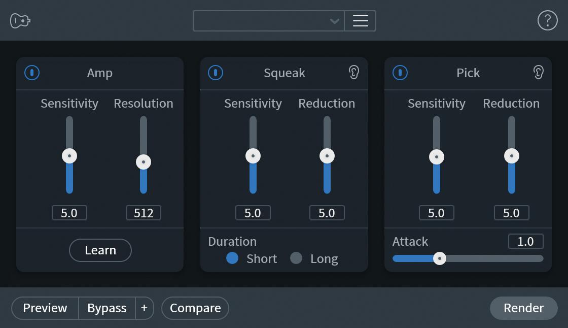 Guitar De-noiseでは、ギターにかかわる各種ノイズの除去が可能。Ampセクションではアンプのハム・ノイズ、Squeakセクションでは指が弦をこするノイズ、Pickセクションではピッキングのノイズを低減できる。StandardとAdvancedのエディションで使用可能だ