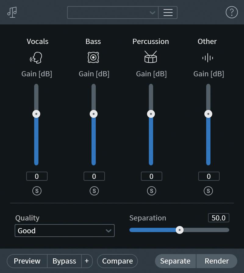 Music Rebalanceでは、2ミックスをボーカル/ベース/パーカッション/そのほかという4つに分け、それぞれのレベルを調整できる。その音質はRX 7からさらに向上した。StandardとAdvancedに内蔵されている。新たにステムとして書き出すSeparate機能も追加された