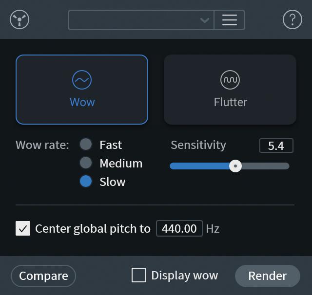 RC 8 Advancedに新搭載されたWow & Flutter。レコードやテープなど、物理的な録音におけるピッチの揺らぎを修正できる
