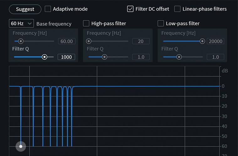 RXの全エディションに備わっているDe-hum。ハム・ノイズを自動検知&除去できる。RX 8では周波数のバンドが増えたことで、より高い帯域の処理が可能となり、ヒス・ノイズにも有効となった