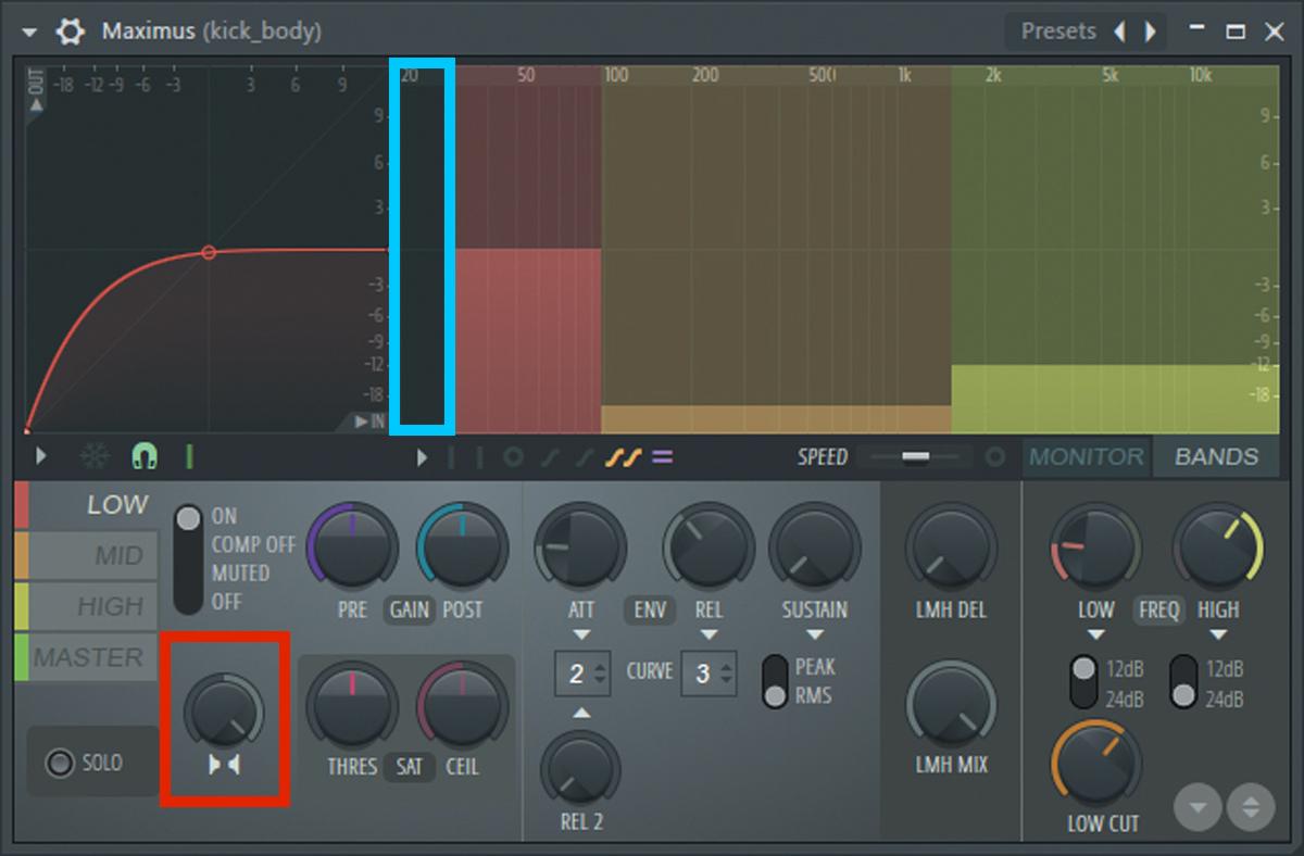 キックの最終段にインサートしたMaximus Multiband Maximizer。低域部のLOWバンドは、Stereo separationを一番右に回してモノラル化している(赤枠)。さらにサブベースの音量差を軽減させるため、30Hz以下を切った(青枠)