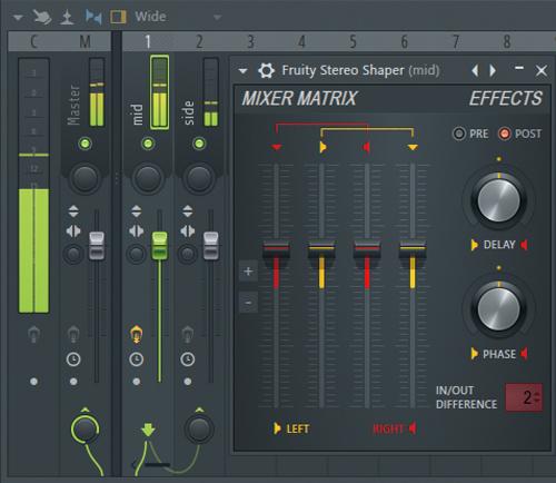 """Fruity Stereo ShaperによるM/S 処理の一例。画面ではFruity Stereo Shaperをch1(mid)に挿したあと、プリセットの""""Mid - aSide splitter""""を選択。そしてch1を選択したままch2(side)最下部にあるノブの上の▲マークを右クリックして""""Sidechain to this track""""に設定。これでch1でmid、ch2でsideを処理できるようになる"""