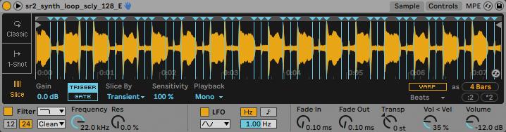 Live付属のインストゥルメントSimpler。サンプラーというと、出来合いのサンプルを鳴らすものととらえる人もいるかもしれないが、もともとは自分で何か録音(サンプリング)し、それを素材として鳴らすものである。声ネタ、フィールド・レコーディングした素材、そのほか何でもSimplerに読み込んでスライスし、Live専用MIDIコントローラーのABLETON PushやMIDI鍵盤で鳴らしてみよう! Live Suiteには上位プラグインのSamplerも付属。Simplerよりモジュレーションが豊富なので、興味があればいじってみてほしい