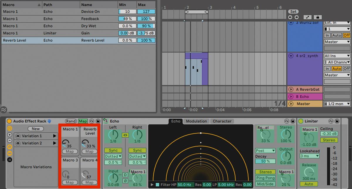 """各Rack内にあるマクロコントロール用のノブ(赤枠)には、MIDIマッピング/コンピューター・キーボードのショートカット・マッピングが可能なものをすべてアサインでき、複数のパラメーターを同時に動かせる。例えば、""""1つのノブを回すとEchoプラグインがオンになり、さらに回すとDry/Wetバランスが変化し、フィードバック量も増加。後段に挿さったリミッターでフィードバックによるクリップを控えつつ音量を上げる""""なんてことができてしまう。各パラメーターの変化量はMapボタンを押すと一覧表示され、最大/最小値を含め、自由に設定可能だ。Live 11からは最大16 個までノブを増やせるが、この図では逆にノブを4個に減らしている"""