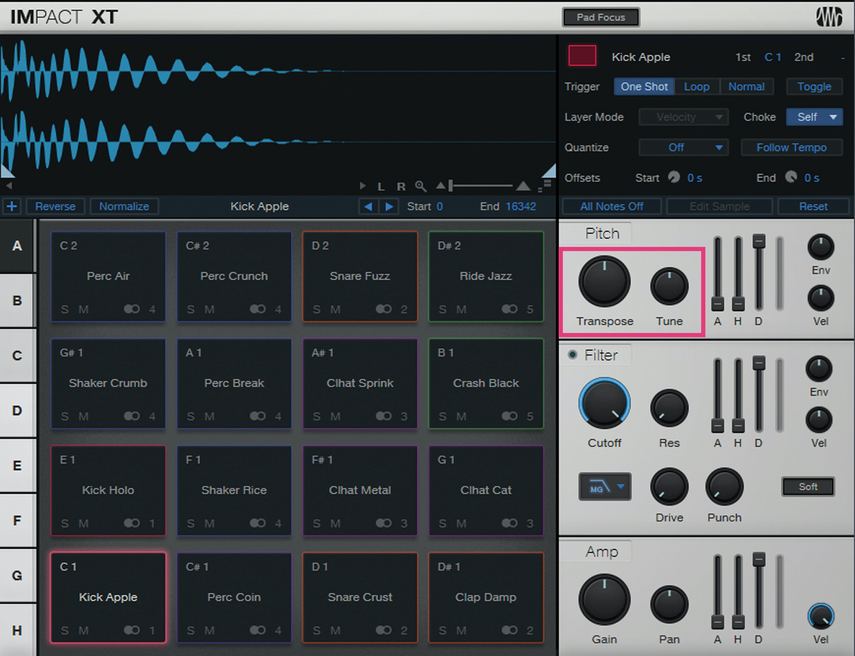 Impact XTのTransposeとTune(赤枠)を駆使すれば、サンプルを楽曲のキーに合わせていける