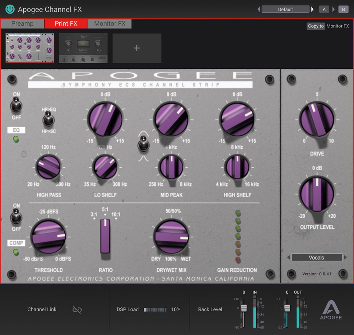 Symphony Desktopに付属するプラグイン、Symphony ECS Channel Strip。ボブ・クリアマウンテンによってチューニングされたチャンネル・ストリップだ。DAW上でCPUネイティブ(AAX/AU/VST)で動作するほか、Symphony Desktopの内蔵DSPを使ったかけ録りも可能。DSP動作によってレイテンシー無くモニターを行い、レコーディングができる。今後のアップデートによって、モニター音のみにエフェクトを適用したり、モニター音用とDAWのトラックにインサートしたプラグインが連動するDualPath Linkにも対応予定