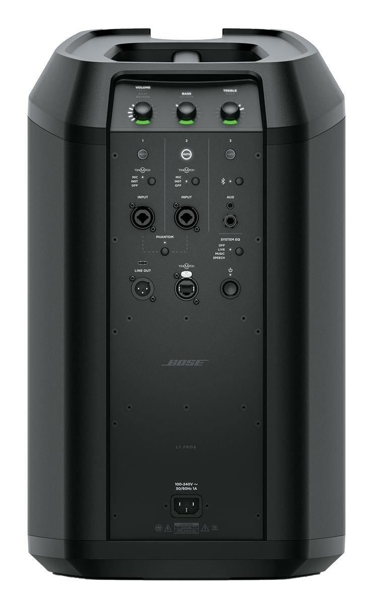パワー・スタンドには、3chミキサーを内蔵。ch1/2には、ファンタム電 源搭載のマイク/ライン入力(XLR/TRSフォーン・コンボ)を備える