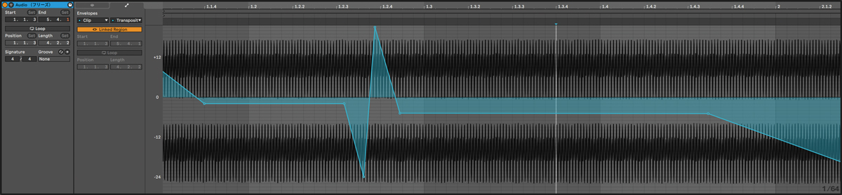 Operatorで作った音色を新規のオーディオ・トラックでフリーズさせ、波形にピッチのオートメーションを書くことで、ひずみ感のあるサブベースを作ることができる