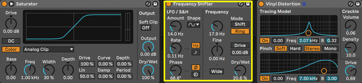 Frequency Shifter(黄枠)と組み合わせるチェインの例。Frequency ShifterのModeをShiftにしてピッチを下げたり、Ringにして30〜35Hzに設定したりすれば仮想的にテープ・サチュレーターのような効果を得ることができる