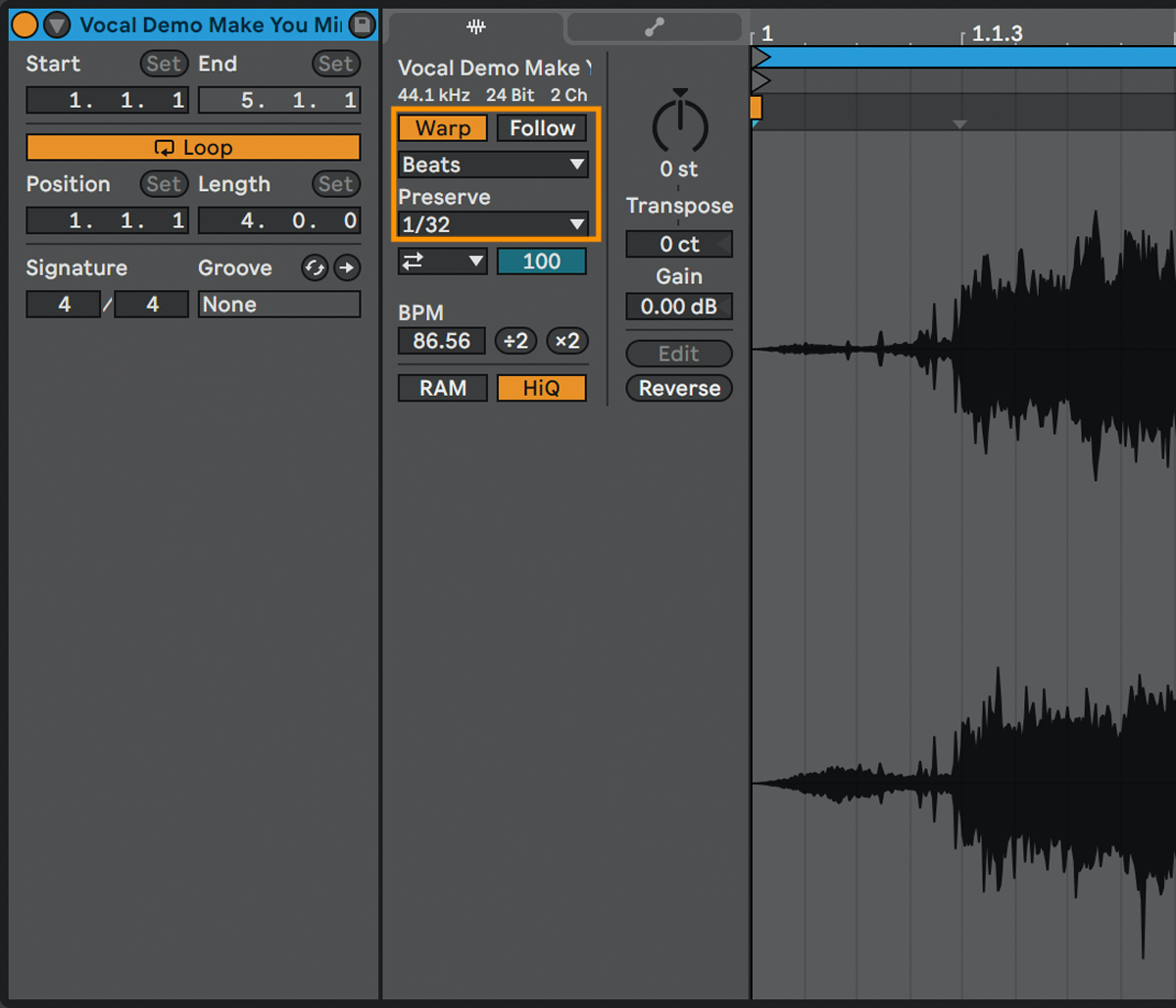 オーディオ編集画面のSampleタブで、Warpをオン→その下の選択タブでBeatsを選択→Preserveで拍数を設定。こうすることで、Warpマーカーはトランジェント単位ではなく指定した拍の長さに設定され、独特の効果を得ることができる(橙枠)