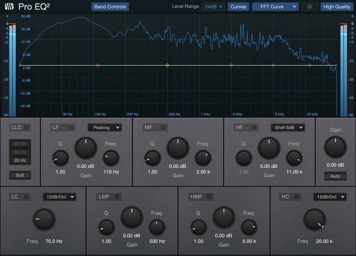 Pro EQ2の周波数アナライザーをFFTモードにしたところ。トラックの周波数特性をリニアな波形として見ることができる