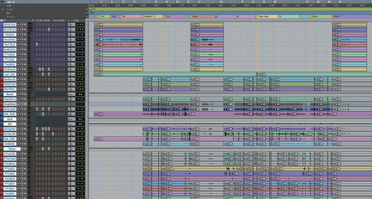 AVID Pro Toolsによる「惰星のマーチ」セッション画面。曲頭からサビ前がジャズ・パート、サビ部分が4つ打ちパートとなっていて、それぞれで各楽器が作り分けられているのが分かる。ここで表示されているのはドラム中心だが、ボーカルからギター、ベース、ピアノ、ホーンまで全楽器でミックスが分けられている