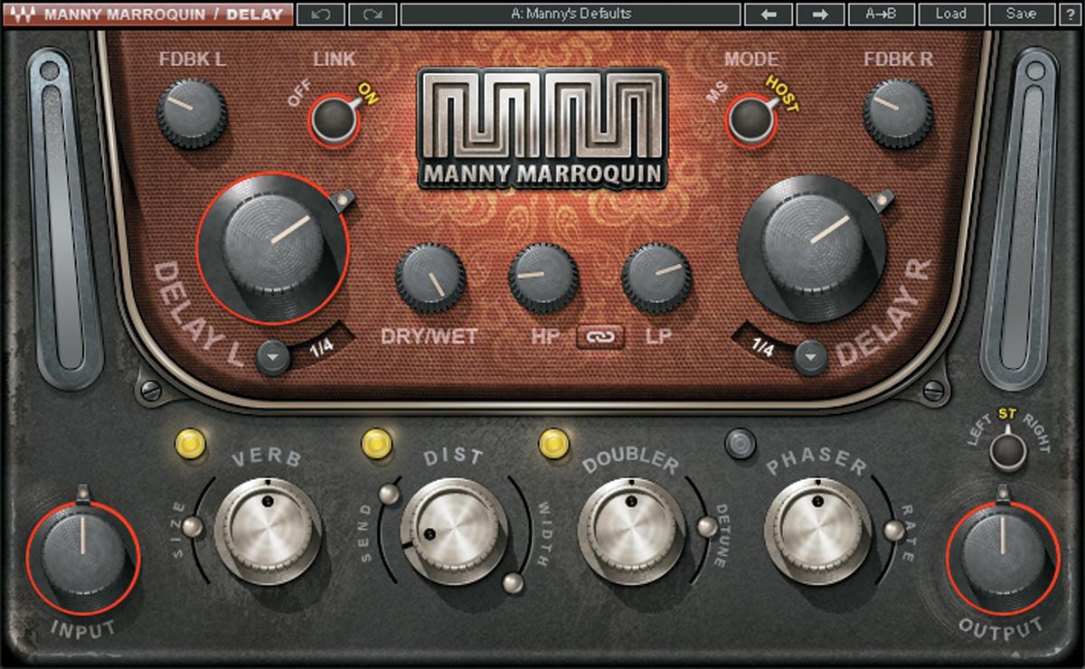 リード・ボーカルやリード・ギターに使われたWAVES Manny Marr oquin Delay。渡辺氏はパートごとにディレイ・タイムを付点8分音符と4分音符で使い分けるという