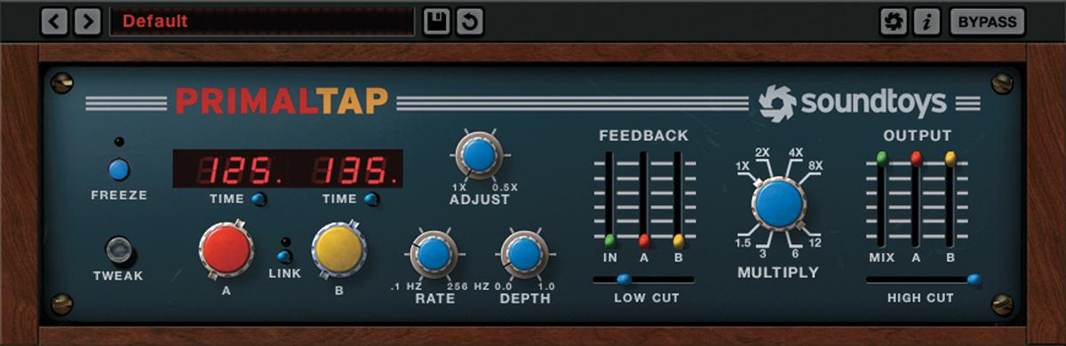 SOUNDTOYS PrimalTapは、左125ms、右135msに設定して、スラップ・ディレイとして使用。ベーシックでずっとかかっているプラグインの一つ