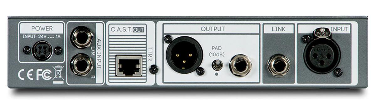 リア・パネル。AUX入力L/R、別のCRANBORNE AUDIOのデバイスとの入出力の相互伝送が行えるC.A.S.T.アウト、プリアンプ出力(XLR、TRSフォーン)とリンク端子(TRSフォーン)、プリアンプ入力(XLR)を装備