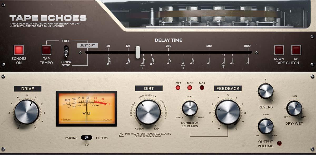 「SOFTUBE Tape Echoes」製品レビュー:往年のビンテージ・テープ・エコーをモデリングしたプラグイン
