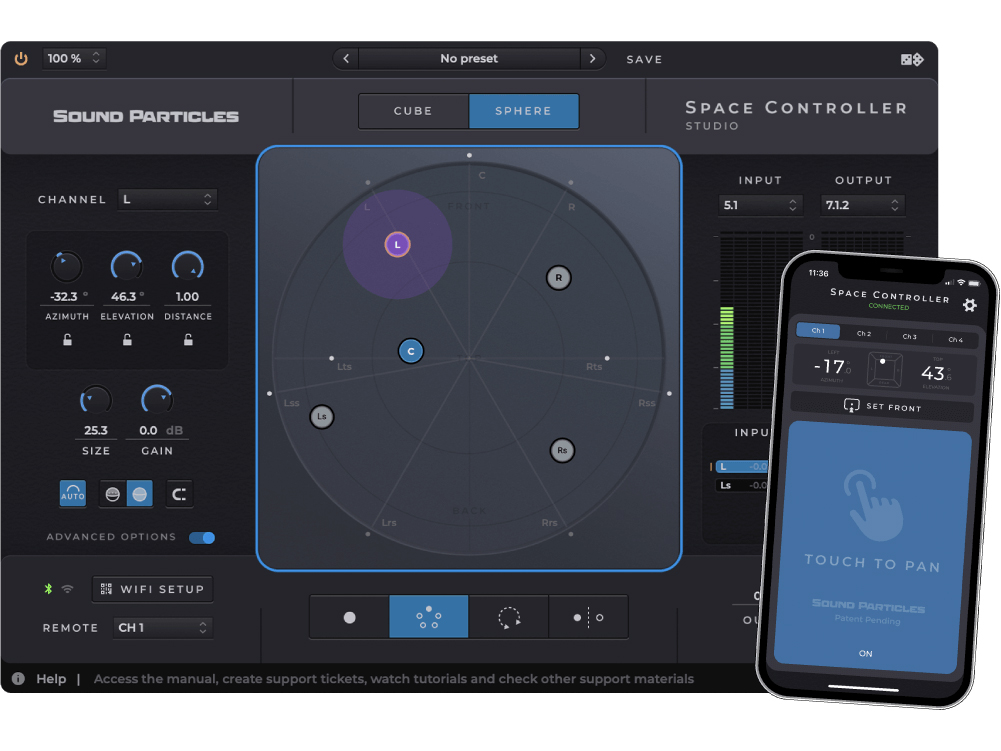 スマホの動きで操作する3D対応パンナー・プラグインSOUND PARTICLES Space Controller