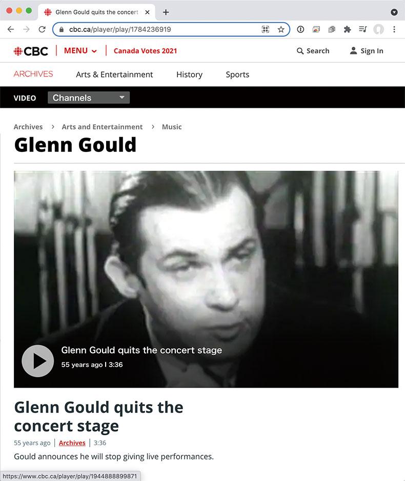 コンサート活動引退を語るグールド。カナダ放送協会(CBC)のアーカイブ