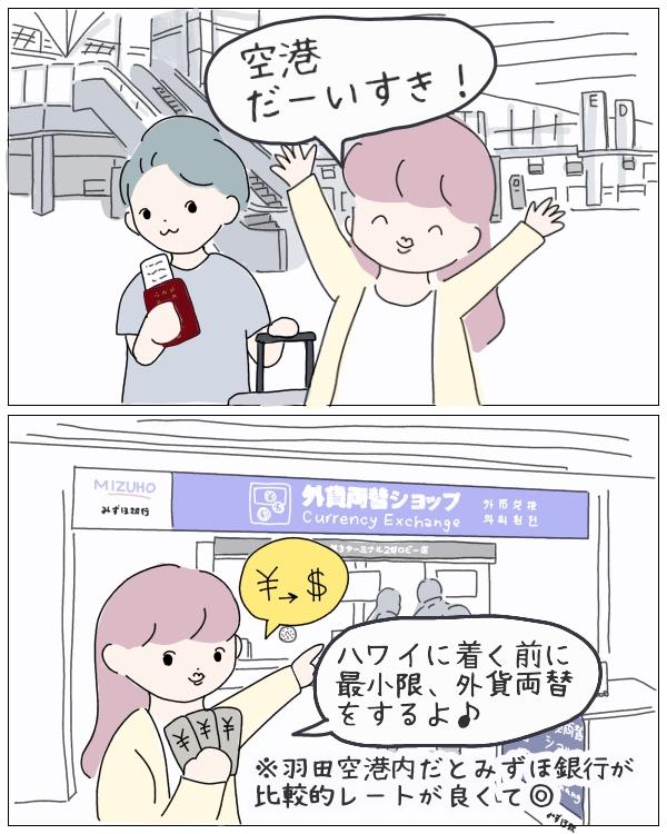 羽田空港到着から外貨両替までの図
