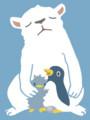 白くまとペンギン、仔ペンギンと卵