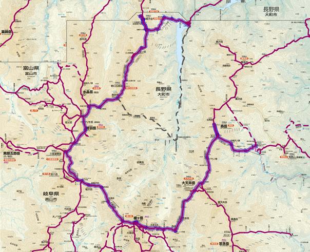 裏銀座と表銀座縦走の地図