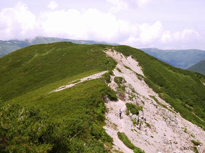 北アルプスの稜線を歩くハイカー