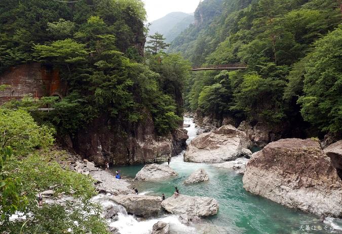 みたらい渓谷で泳ぐ