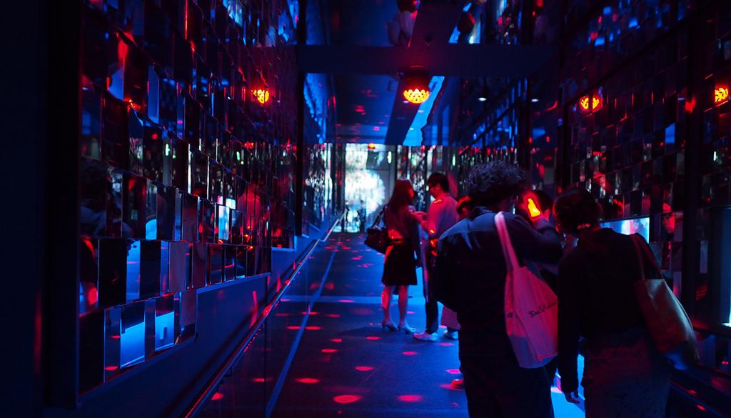クラゲ万華鏡トンネルの光景