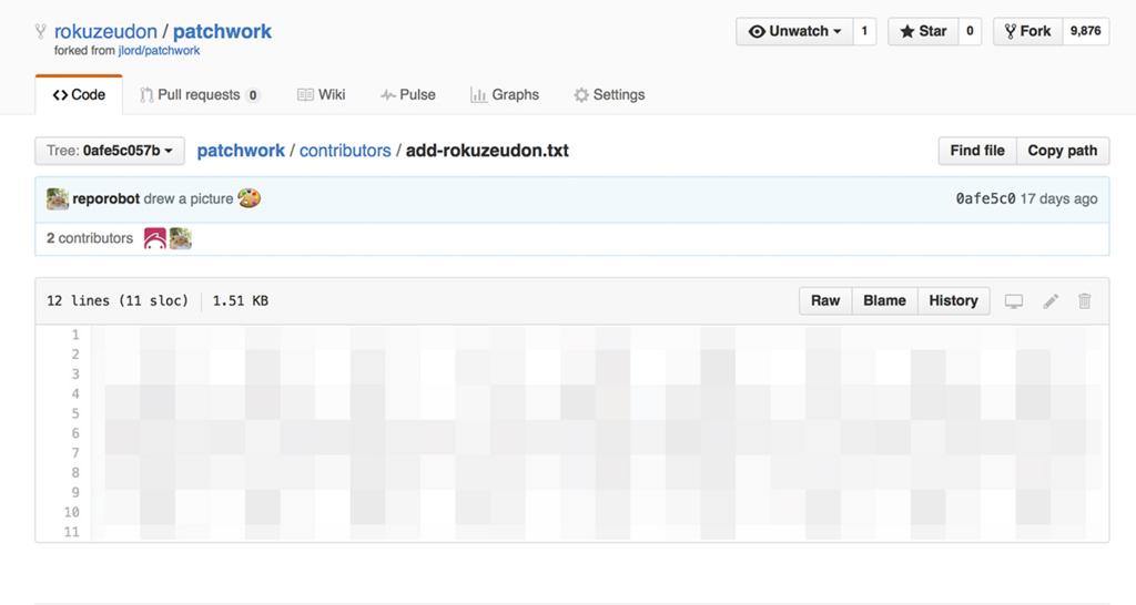 GitHub画面上の、中間サプライズ