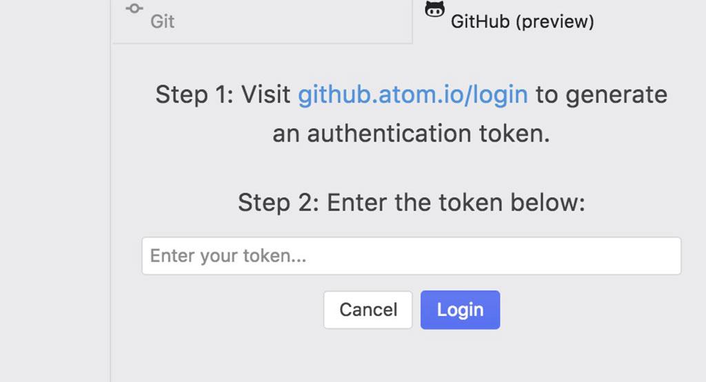 Visit github.atom.io/login