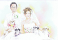 A3色鉛筆画(420×300)2人+犬■額付25000円