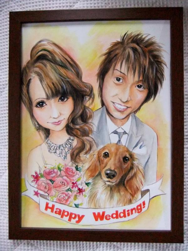 A3水彩画(420×300)2人+犬■額付