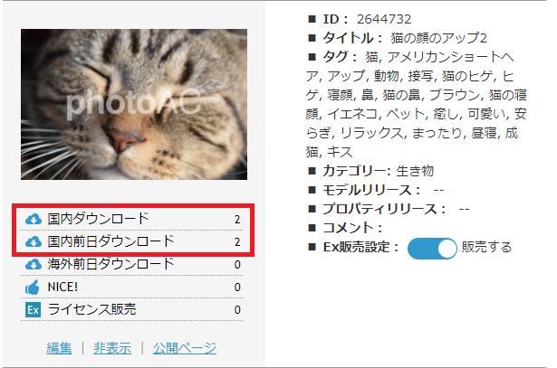 ダウンロードが発生した猫の写真